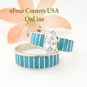 Size 10 Turquoise Inlay Wedding Engagement Ring Set Navajo Ella Cowboy WS-1488 Four Corners USA OnLine Native American Jewelry Store
