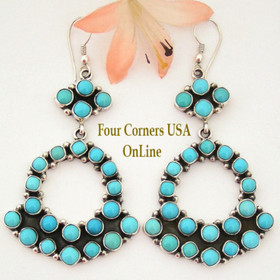Large Turquoise Chandelier Earrings Native American Navajo Silver Jewelry Emma Lincoln Four Corners USA OnLine Shopping NAER-1449