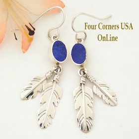 Lapis Lazuli Double Feather Dangle Earrings Four Corners USA OnLine Native American Silver Jewelry NAER-1450