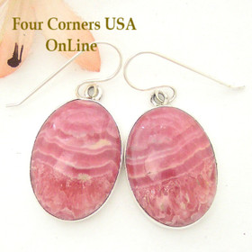 Four Corners USA OnLine Rhodochrosite Sterling Earrings Navajo Artisan Shirley Henry Native American Silver Jewelry NAER-1454