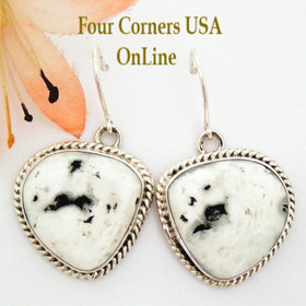 White Buffalo Turquoise Sterling Silver Earrings by Emma King Four Corners USA OnLine Native American Silver Jewelry NAER-1456