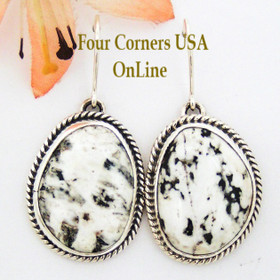 White Buffalo Turquoise Stone Sterling Earrings by Navajo Artisan Bobby Piaso Four Corners USA OnLine Native American Jewelry NAER-1459