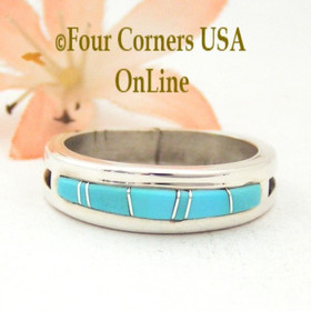 Size 10 1/2 Turquoise Inlay Wedding Band Ring Native American Wilbert Muskett Jr WB-1551 Four Corners USA OnLine Navajo Silver Jewelry