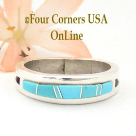 Size 10 1/2 Pre Order Turquoise Inlay Ring Native American Wilbert Muskett Jr WB-1552 Four Corners USA Online Jewelry