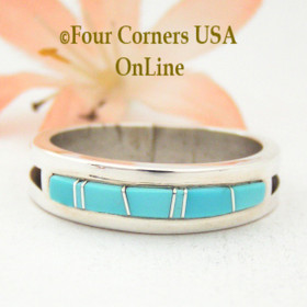 Size 12 Turquoise Inlay Ring Native American Wilbert Muskett Jr WB-1558 Four Corners USA OnLine Navajo Silver Jewelry In Stock Immediate Delivery