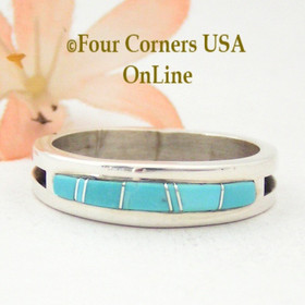 Size 13 1/4 Turquoise Inlay Band Ring Native American Navajo Wilbert Muskett Jr WB-1562 Four Corners USA OnLine Silver Jewelry Store