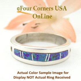 Size 10 1/2 Purple Fire Opal Inlay Ring Native American Wilbert Muskett Jr WB-1566 Four Corners USA OnLine Navajo Silver Jewelry