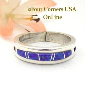 Size 10 1/2 Purple Fire Opal Inlay Ring Native American Wilbert Muskett Jr WB-1566 Four Corners USA OnLine Navajo Silver Jewelry
