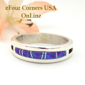 Size 11 Purple Fire Opal Inlay Ring Native American Navajo Silversmith Wilbert Muskett Jr WB-1567 Four Corners USA OnLine Jewelry Store