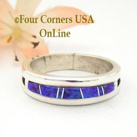 Size 11 Purple Fire Opal Inlay Ring Native American Wilbert Muskett Jr WB-1568 Four Corners USA OnLine Navajo Silver Wedding Jewelry