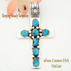 Sleeping Beauty Turquoise Sterling Silver Cross Navajo Artisan Tiffany Smith Four Corners USA OnLine Native American Jewelry Store NACR-1407