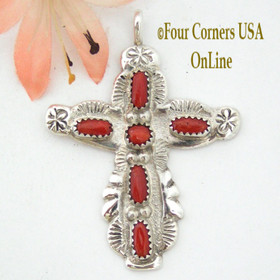 Coral Sterling Silver Cross Jewelry by American Zuni Indian Cecilia Iule NACR-1401 Four Corners USA OnLine Native American Jewelry Store