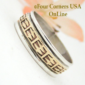 Size 12 1/2 Ring 12KGF and Sterling Wedding Band Style by Native American Navajo Rick Enriquez NAR-1529 Four Corners USA OnLine