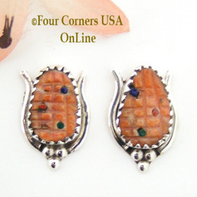 Orange Spiny Oyster Shell Corn Maize Sterling Post Earrings Native American Zuni Artisan Tracy Bowekaty NAER-1461 Four Corners USA OnLine American Indian Jewelry Store