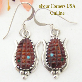 Red Spiny Oyster Corn Maize Sterling Earrings Native American Zuni Artisan Tracy Bowekaty NAER-1463 Four Corners USA OnLine American Indian Jewelry