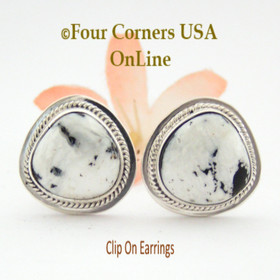 White Buffalo Turquoise Sterling Clip On Earrings Navajo Artisan Lucy Valencia Jewelry NAER-1464 Four Corners USA OnLine Authentic Native American Jewelry