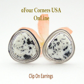 White Buffalo Turquoise Sterling Clip On Earrings Navajo Artisan Lucy Valencia Jewelry NAER-1465  Four Corners USA OnLine Authentic Native American Jewelry
