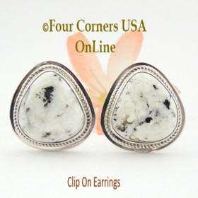 White Buffalo Turquoise Sterling Clip On Earrings Navajo Artisan Lucy Valencia Jewelry NAER-1467  Four Corners USA OnLine Authentic Native American Jewelry