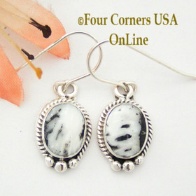 Petite White Buffalo Turquoise Sterling Earrings Native American Navajo Artisan Burt Francisco NAER-1468 Four Corners USA OnLine