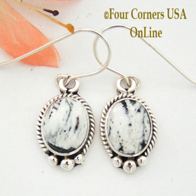 White Buffalo Turquoise Sterling Wire Earrings Four Corners USA OnLine Native American Navajo Artisan Burt Francisco NAER-1470