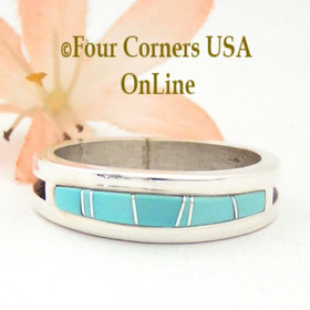 Size 11 Turquoise Inlay Wedding Band Ring Native American Wilbert Muskett Jr WB-1591 Four Corners USA OnLine Jewelry