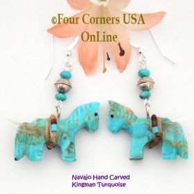 Carved Kingman Turquoise Horse Earrings Native American Artisan Jeff Howe NAER-1472 Four Corners USA OnLine Navajo Jewelry