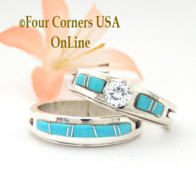 Size 10 1/2 Turquoise Inlay Engagement Bridal Wedding Ring Set Four Corners USA OnLine Native American Wilbert Muskett Jr WS-1498