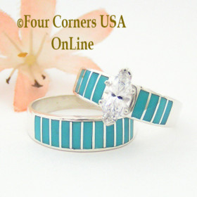 Size 10 1/2 Turquoise Inlay Wedding Engagement Ring Set Ella Cowboy WS-1507 Four Corners USA Online Jewelry