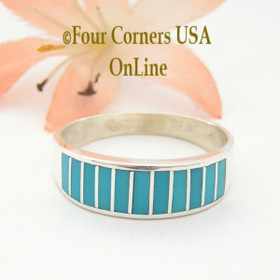 Turquoise Channel Inlay Navajo Wedding Band Ring Size 10 WB-1595 Four Corners USA OnLine Native American Silver Jewelry
