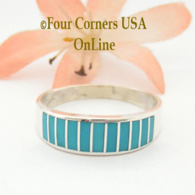 Turquoise Channel Inlay Navajo Wedding Band Ring Size 11 WB-1597 Four Corners USA OnLine Native American Silver Jewelry