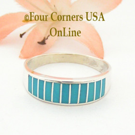 Turquoise Channel Inlay Navajo Wedding Band Ring Size 11 1/2 WB-1598 Four Corners USA OnLine Native American Silver Jewelry