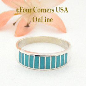 Turquoise Channel Inlay Navajo Wedding Band Ring Size 12 WB-1599 Four Corners USA OnLine Native American Silver Jewelry
