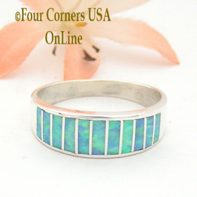 Size 10 Light Blue Fire Opal Inlay Wedding Band Ring Ella Cowboy WB-1604 Four Corners USA OnLine Native American Jewelry