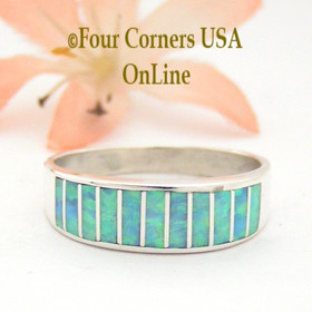 Size 10 1/2 Light Blue Fire Opal Inlay Wedding Band Ring Ella Cowboy WB-1605 Four Corners USA OnLine Native American Jewelry