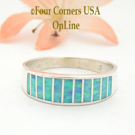 Size 11 1/2 Light Blue Fire Opal Inlay Wedding Band Ring Ella Cowboy WB-1606 Four Corners USA OnLine Native American Jewelry