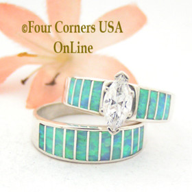 Size 10 1/2 Light Blue Fire Opal Wedding Engagement Ring Set Ella Cowboy WS-1517 Four Corners USA OnLine Native American Jewelry
