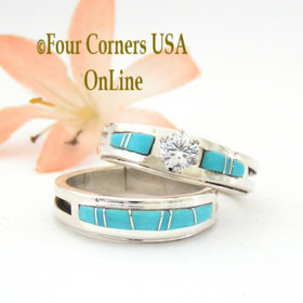 Size 10 Turquoise Engagement Bridal Wedding Ring Set Native American Wilbert Muskett Jr WS-1531 Four Corners USA OnLine Navajo Silver Jewelry