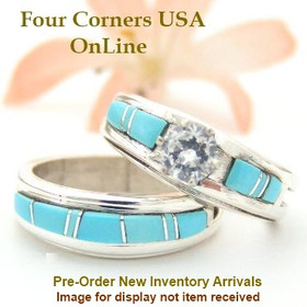 Pre Order Size 10 1/2 Turquoise Engagement Bridal Wedding Ring Set Native American Navajo Wilbert Muskett Jr WS-1532 Four Corners USA OnLine Jewelry