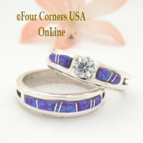 Size 10 Purple Fire Opal Engagement Bridal Wedding Ring Set Native American Wilbert Muskett Jr WS-1535 Four Corners USA OnLine Navajo Silver Jewelry