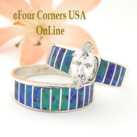 Size 10 Purple Fire Opal Wedding Engagement Ring Set Ella Cowboy WS-1549 Four Corners USA Online Jewelry