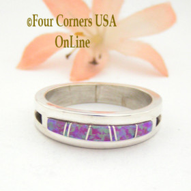 Size 11 1/2 Pink Fire Opal Inlay Ring Native American Wilbert Muskett Jr Four Corners USA OnLine Native American Jewelry WB-1616