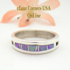 Size 12 Pink Fire Opal Inlay Ring Native American Wilbert Muskett Jr Four Corners USA OnLine Native American Jewelry WB-1617