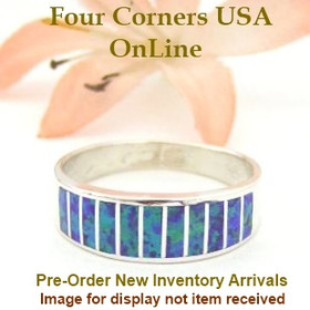 Size 10 1/2 Pre Order Purple Fire Opal Inlay Wedding Band Ring Ella Cowboy WB-1622 Four Corners USA Online Jewelry