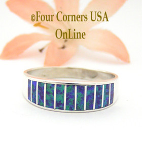 Size 11 Purple Fire Opal Inlay Wedding Band Ring Ella Cowboy WB-1624 Four Corners USA Online Jewelry