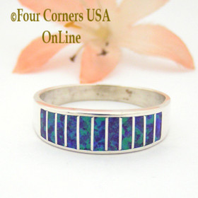 Size 11 1/2 Purple Fire Opal Inlay Wedding Band Ring Ella Cowboy WB-1625 Four Corners USA Online Jewelry