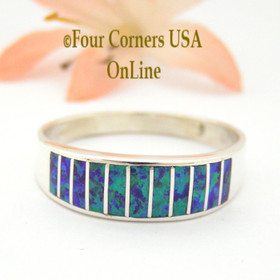 Size 12 1/2 Purple Fire Opal Inlay Wedding Band Ring Ella Cowboy WB-1627 Four Corners USA Online Jewelry