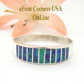 Size 13 Purple Fire Opal Inlay Wedding Band Ring Ella Cowboy WB-1628 Four Corners USA Online Jewelry