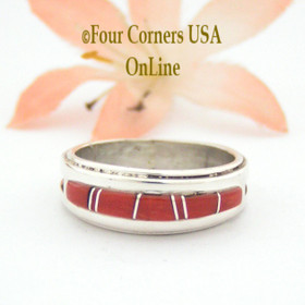 Size 6 3/4 Red Coral Inlay Ring Native American Wilbert Muskett Jr WB-1634 Four Corners USA OnLine Navajo Sterling Silver Jewelry