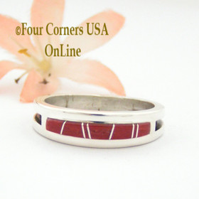 Size 12 1/2 Red Coral Inlay Ring Native American Wilbert Muskett Jr WB-1646 Four Corners USA OnLine Navajo Silver Jewelry