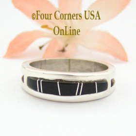 Size 10 Jet Inlay Ring Native American Wilbert Muskett Jr WB-1658 Four Corners USA OnLine Navajo Sterling Silver Jewelry